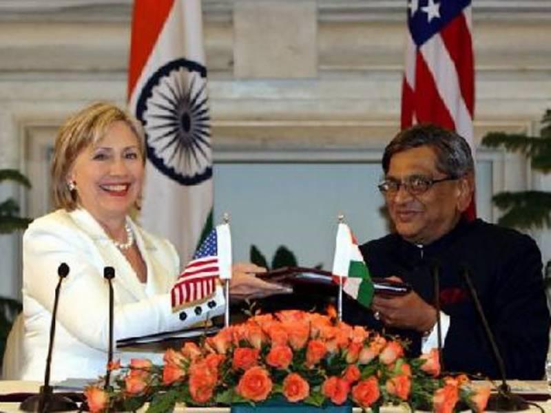 بھارت امریکہ اسٹریٹجک ڈائیلاگ کا دوسرا دور،بھارتی وفد کی قیادت ایس ایم کرشنا جبکہ امریکی وفد کی قیادت ہیلری کلنٹن کررہی ہیں۔