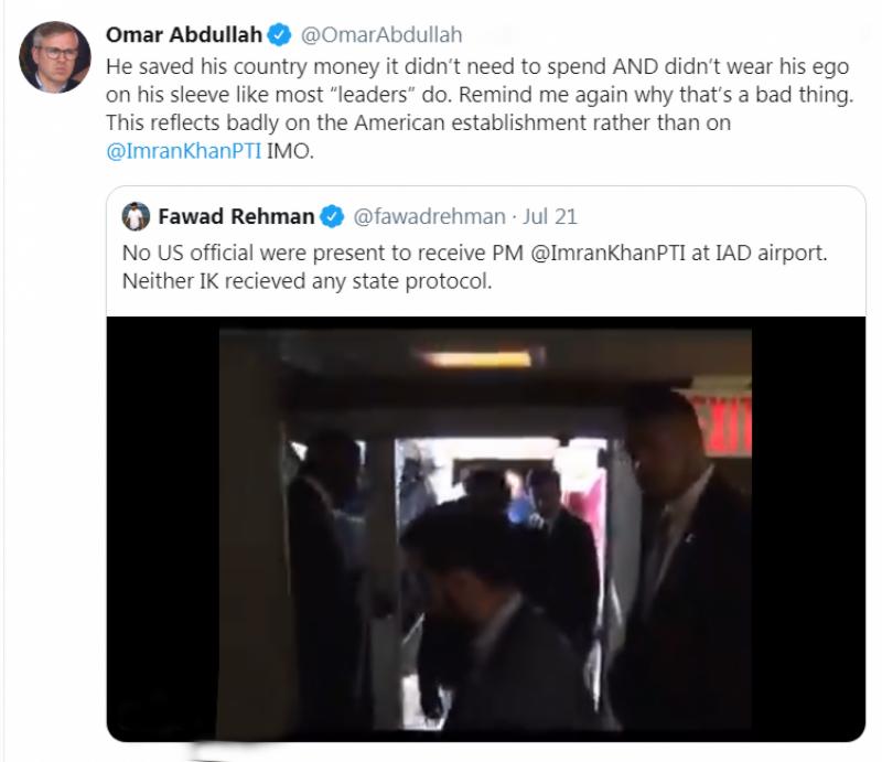 سابق وزیراعلیٰ مقبوضہ کشمیر عمر عبداللہ بھی عمران کی کفایت شعاری کی تعریف کیے بغیر نہ رہ سکے