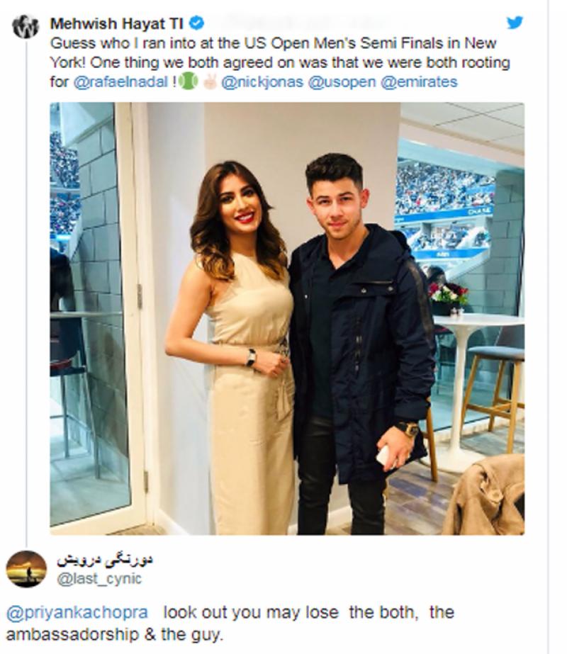 امریکی گلوکار نک جونس کے ساتھ پاکستانی اداکارہ مہوش حیات کی تصویر سوشل میڈیا پر وائرل