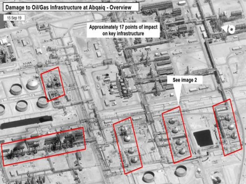 امریکا نے سعودی آئل تنصیبات پر حملوں میں ایران کے ملوث ہونے کےسیٹلائٹ ثبوت جاری کردیے