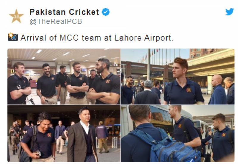 کمار سنگاکارا کی قیادت میں ایم سی سی کی ٹیم لاہور پہنچ گئی