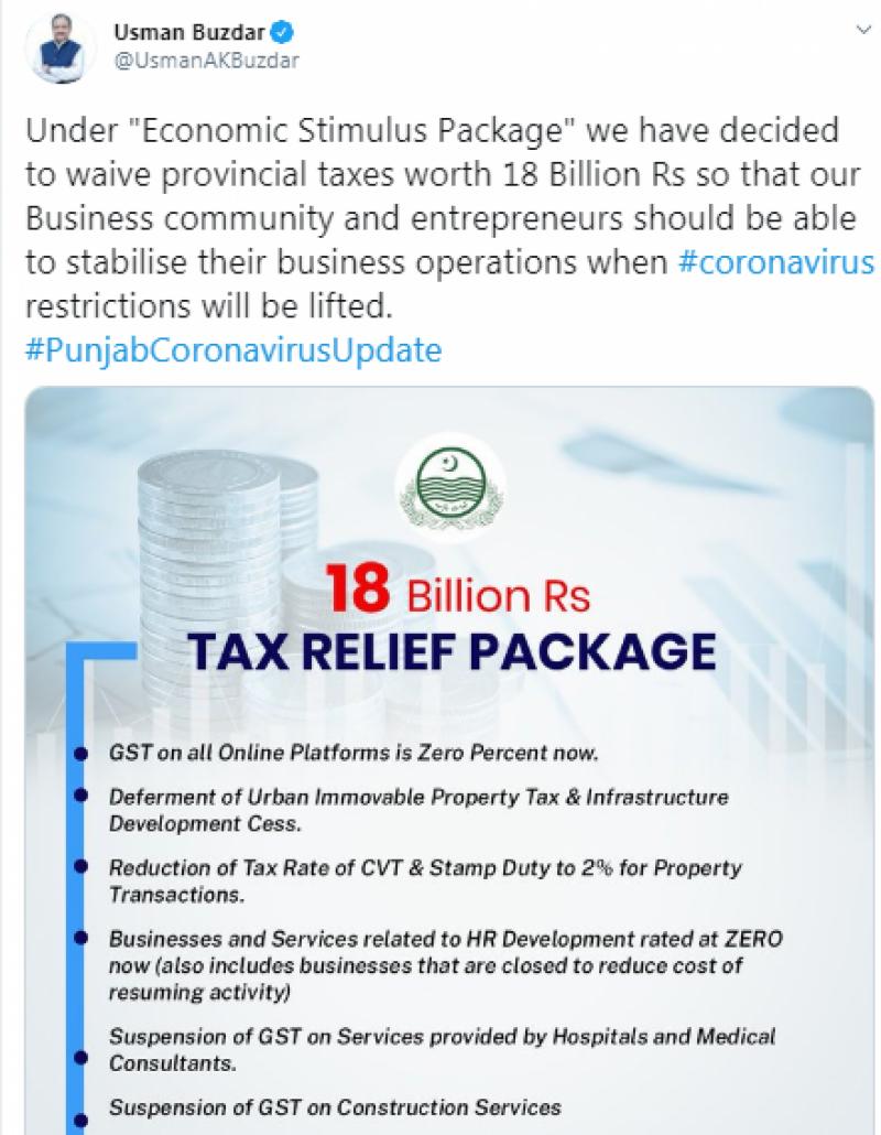 پنجاب حکومت کا 18 ارب روپے کے ٹیکسز ختم کرنے کا اعلان