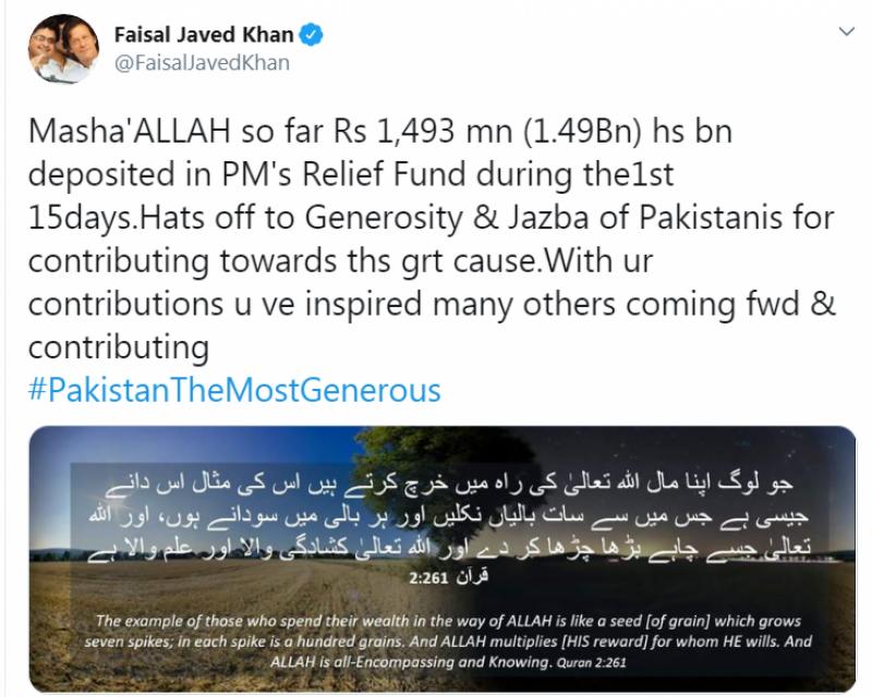 وزیرِ اعظم عمران خان کے کورونا ریلیف فنڈ میں 1 ارب 49 کروڑ روپے جمع ہو گئے