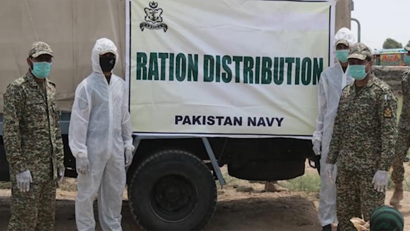 پاک بحریہ کی ملک میں کورونا وائرس اور لاک ڈاؤن کی صورتحال سے متاثر خاندانوں کی امداد جاری