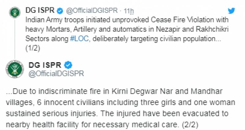بھارت باز نہ آیا، ایل او سی پر پھر گولہ باری،3 بچیوں سمیت 6 شہری زخمی