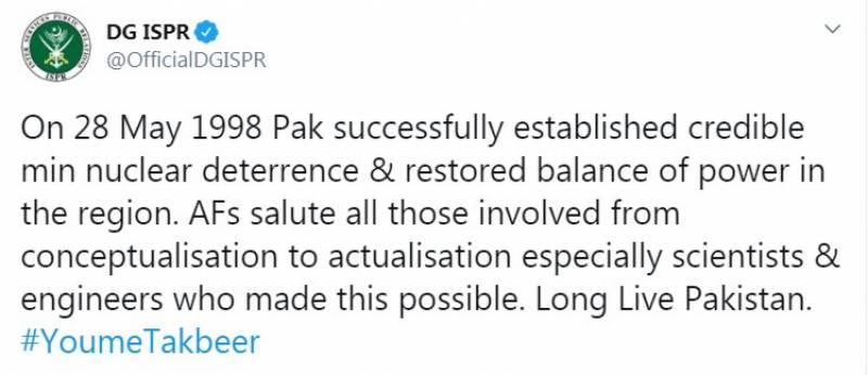 28 مئی 1998ء کو پاکستان نے خطے میں طاقت کا توازن بحال کیا:ڈی جی آئی ایس پی آر