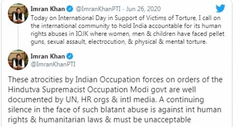 مقبوضہ کشمیر میں بھارتی مظالم پر عالمی برادری کی خاموشی ناقابل قبول ہے: عمران خان