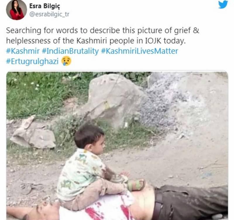 حلیمہ سلطان مقبوضہ کشمیر میں نانا کی لاش پر بیٹھے نواسے کی تصویر دیکھ کر رنجیدہ