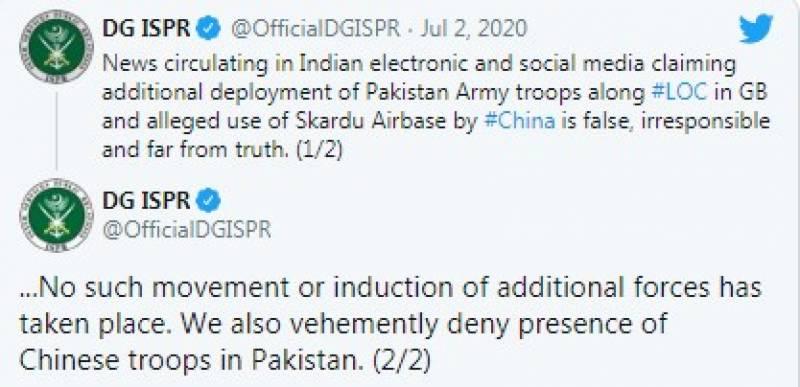 گلگت بلتستان میں چینی فوج کی موجودگی کی خبریں بے بنیاد قرار