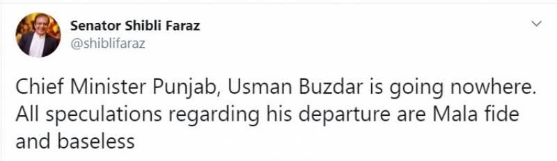 وزیراعلیٰ پنجاب کو ہٹانے کی خبروں میں کوئی صداقت نہیں: سینیٹر شبلی فراز