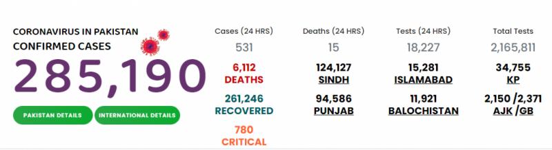 پاکستان : کورونا میں بتدریج کمی، 531 نئے کیسز رپورٹ
