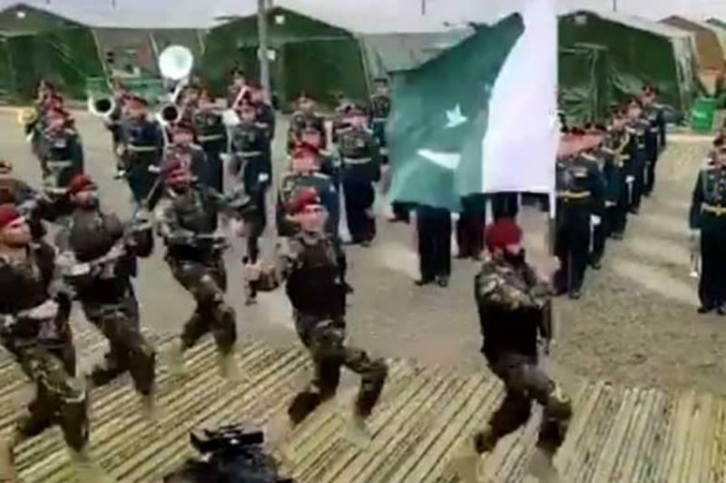 پاکستان آرمڈ فورسز کے دستے کی فوجی مشقوں کیوکاز کی افتتاحی تقریب میں شرکت