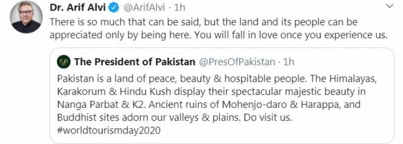 پاکستان کی تعریف یہاں رہ کر ہی کی جا سکتی ہے: عالمی یوم سیاحت پر صدر پاکستان کا پیغام