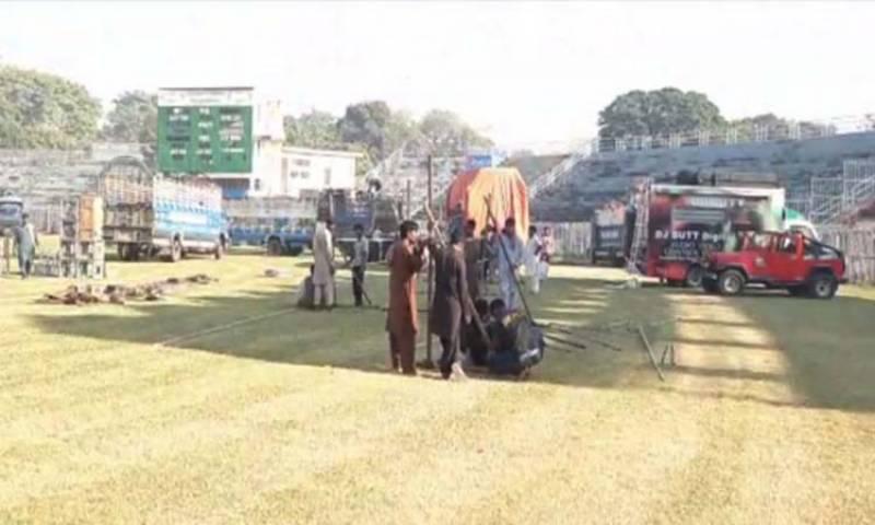 گوجرانوالہ جناح اسٹیڈیم میں پی ڈی ایم کے جلسے کی تیاریاں جاری