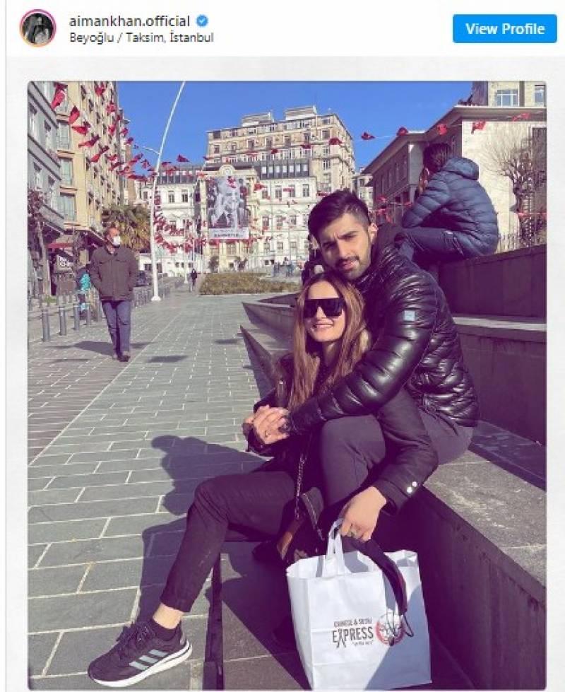 اداکارہ ایمن خان کے اپنے شوہر منیب کے ساتھ استنبول میں سیر سپاٹے
