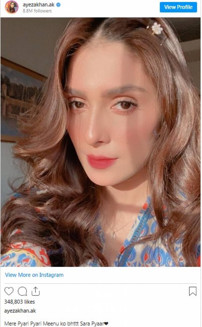 عائزہ خان کا 'مینو' کے لیے پیار کا اظہار