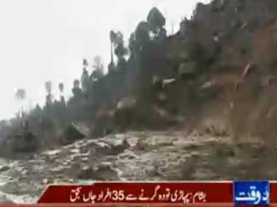 شانگلہ کے علاقے بشام میں پہاڑی تودہ گرنے سے پینتیس افراد جاں بحق ہوگئے ، سولہ افراد کی لاشیں نکالی لی گئیں ۔