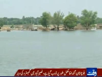 دریائے سندھ، سیلابی ریلے سے جعفرآباد کا علاقہ گنداخا مکمل طور پر ڈوب گیا،ادھر نصیرآباد میں گیسٹرو کی وباء سے ہلاک ہونے والوں کی تعداد اکیس ہوگئی ہے ۔