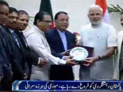 نریندرمودی نے ہرزہ سرائی کی ہے کہ پاکستان ہندوستان کے لیے مشکلات پیداکرنے کے علاوہ دہشت گردی کو فروغ دے رہا ہے