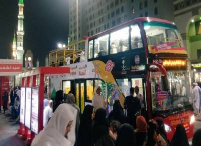 مدینہ منورہ : اہم مقامات کے درمیان ڈبل ڈیکر بس کا آزمائشی سفر