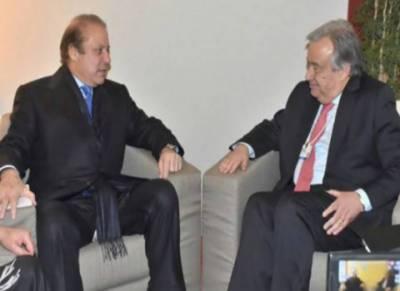 وزیراعظم نواز شریف کی اقوام متحدہ کے سیکریٹری جنرل سے ملاقات