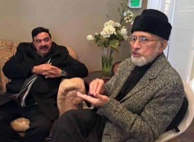 ڈاکٹر طاہر القادری سے شیخ رشید کی ملاقات
