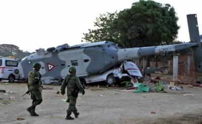 میکسیکو میں فوجی ہیلی کاپٹر امدادی گاڑیوں پر گرگیا,خواتین اور بچوں سمیت13افراد ہلاک