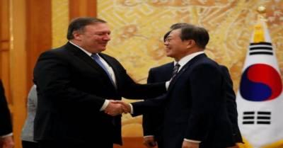 امریکا کے وزیر خارجہ مائیک پومپیو جنوبی کوریا پہنچ گئے, صدر مون جے اِن سے ملاقات