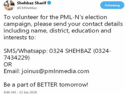 شہباز شریف کا مسلم لیگ ن کی انتخابی مہم میں رضاکارانہ طور پر حصہ لینے کے خواہش مند افراد کے لئے پیغام