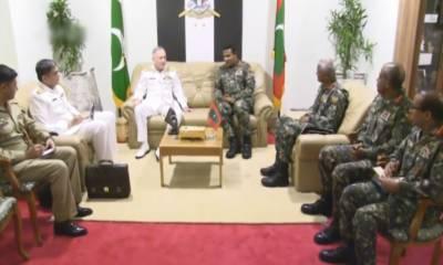 پاکستان نیوی کے نیول چیفاور مالدیپ کے منسٹر ڈیفنس اینڈ نیشنل سکیورٹی اور چیف آف ڈیفنس فورسز سے ملاقات