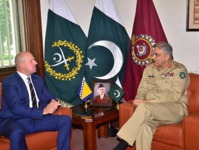 آرمی چیف جنرل قمر جاوید باجوہ سے بوسنیا کے سفیر کی ملاقات ، خطے کی سیکیورٹی صورت حال اور باہمی دلچسپی کے امور پر تبادلہ خیال