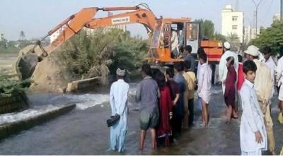 دھابیجی پمپنگ اسٹیشن پر 72 انچ قطر کی پائپ لائن پھٹ گئی