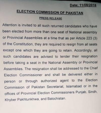 الیکشن کمیشن:ایک سے زائد نشست پر جیتنے والے کامیاب امیدواروں کو ہدایت جاری