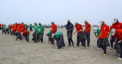 پاکستان نیوی کا سی ویو پر ساحل کی صفائی کی مہم کا اہتمام