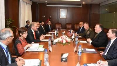 امریکی وزیر خارجہ مائیک پومپیو وفد کے ہمراہ دفتر خارجہ پہنچ گئے