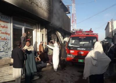 پشین بازار کے کپڑہ مارکیٹ میں آتشزدگی،فائیر بریگیڈ نے قابو پالیا