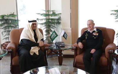 سعودی سفیر کی سربراہ پاک بحریہ سے ملاقات، بحری دفاعی تعاون پر تبادلہ خیال