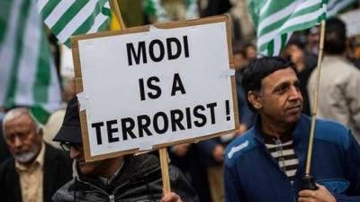 لندن : بیگناہ کشمیریوں کے قتل اور مظالم کیخلاف بھارتی ہائی کمیشن کے سامنے احتجاجی مظاہرہ