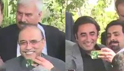 آصف زرداری اور بلاول بھٹو سخت سیکیورٹی میں الگ الگ گاڑیوں میں نیب دفتر پہنچے