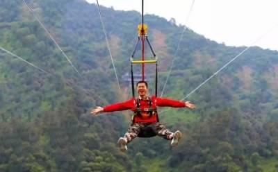 چین کی سب سے طویل زِپ لائن عوام کیلئے کھول دی گئی