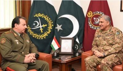 آرمی چیف سے تاجک وزیر دفاع کی ملاقات ،دلچسپی کے امور پر گفتگو
