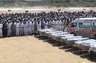 کراچی:مستونگ ٹریفک حادثے میں جاں بحق 14 افراد کی نماز جنازہ کراچی میں ادا