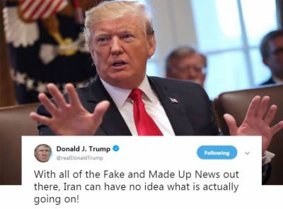 ایران سے تنازع میں میڈیا جھوٹی خبریں پھیلانے کا ذمہ دار ہے:امریکی صدٹرمپ