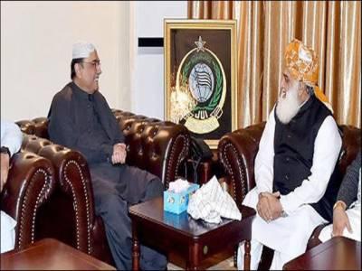 آصف علی زرداری کی مولانا فضل الرحمان سے ملاقات ، حکومت کو ٹف ٹائم دینے کا فیصلہ