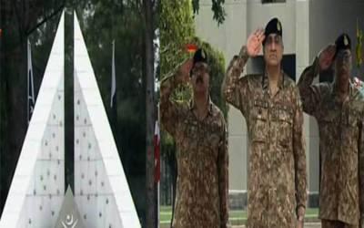 جی ایچ کیو میں یوم دفاع کی مرکزی تقریب، آرمی چیف کی یادگار شہدا پر حاضری