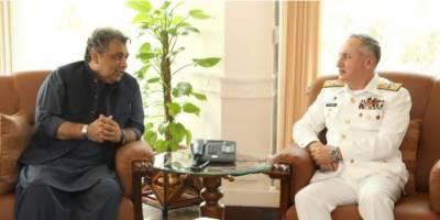 بحری امور کےوزیر علی زیدی کی پاک بحریہ کے سربراہ ایڈمرل ظفر محمودعباسی سےملاقات ، بحری امور کا جائزہ