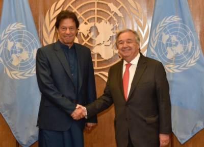 اقوام متحدہ کے سیکرٹری جنرل کی عمران خان سےملاقات،مقبوضہ کشمیر کی ابترصورتحال پرپھراظہار تشویش