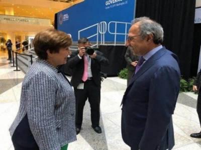 مشیر خزانہ عبدالحفیظ شیخ کی آئی ایم ایف کی منیجنگ ڈائریکٹر سے ملاقات
