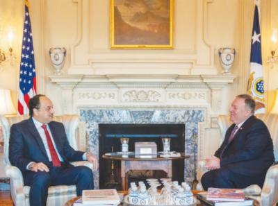امریکی وزیر خارجہ کی قطری وزیر دفاع سے ملاقات