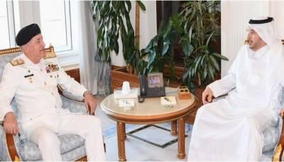 امیر البحر ایڈمرل ظفر محمود عباسی کی قطری وزیر اعظم اور عسکری قیادت سے ملاقاتیں، باہمی دلچسپی کے امور پر تبادلہ خیال کیا گیا۔ ترجمان پاک بحریہ